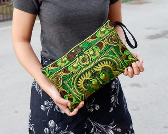 Hmong Style Green Clutch With Embroidered Fabric