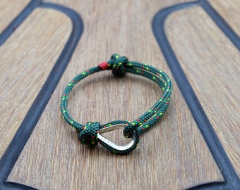 Handmade Customized Nautical Sailing Bracelet 925 Silver green color | Personalized Men present | Adjustable size, Unisex
