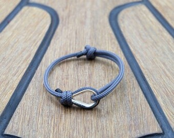Handmade Customized Nautical Sailing Bracelet 925 Silver Gray Sailors Bracelet | Personalized Men present | Adjustable size, Unisex