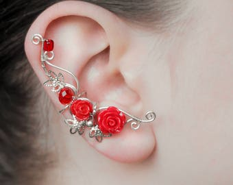 Rose earcuff Red roses Silver swirls Fantasy ear cuffs  Fairy earcuffs Wire Wrapped Bohemian style Flowers for her