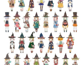 Set of 3 Little Witchlings Washi Sampler, FREE SHIPPING *** Witch Girl Washi Tape, Washi Sample, Original Illustration Washi Tape