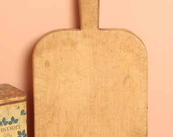 Antique french wood chopping board cutting cheese  block farmhouse kitchen