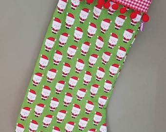 Santa stocking- Santa pom pom stocking- christmas stocking