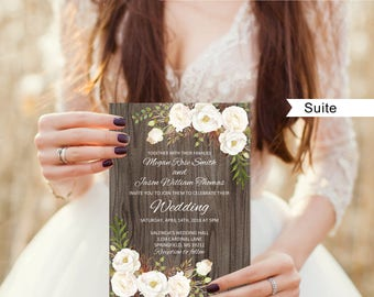 Rustic Wedding Invitation Template Suite Floral Set White Flowers