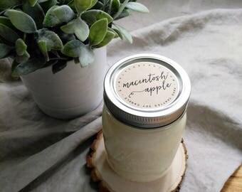 macintosh apple - 16 oz mason jar - hand poured soy candle