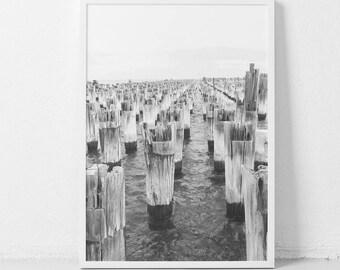 Coastal art,Coastal Décor,Digital Wall Art,Black and white print,Digital prints,Ocean print,Pier print,Photography