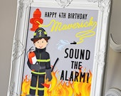 "Sound the Alarm, 16""x 20"" Welcome Sign Fire Truck Party, Printable PDF Digital File Download Custom Nam/age fire hydrant, fire hose birthday"