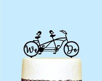 We Do Cake Topper, Bicycle Wedding Cake Topper, Love Birds, Custom Couple Names, Wedding Decorations, Party Decor, Acrylic Cake Topper