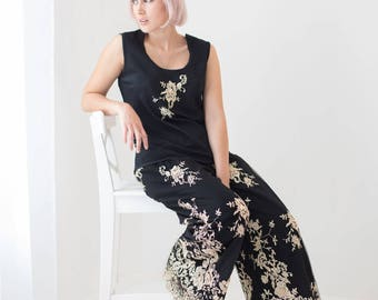 Pyjama Loungewear Top and Trousers,  Black embroided with gold embroidered Lace.  Flared Trouser and embellished top.  Gift for her,