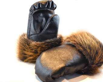 Leather and Beaver Fur Mittens