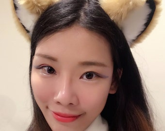 Cat ears Kitty Head wear Light Brown Yellow White Black Furry Animal Headband Costume Bow Bells