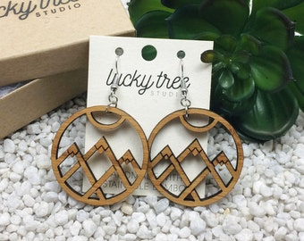 Mountain Dangle Earrings | Laser Cut  Wood Jewelry | Eco Friendly Bamboo