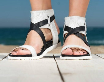 SALE/Genuine leather sandals/black And white genuine leather sandals/PROMO PRICE only now