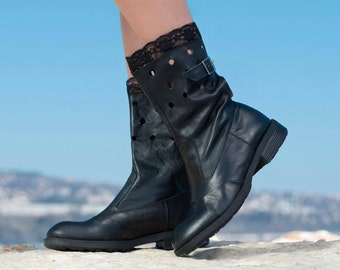 Extravagant Genuine Leather boots/Black genuine leather boots/Autumn leather and lace BOOTS/
