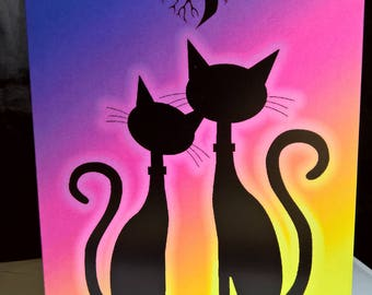 Cat Couple Tree of Life Greeting Card