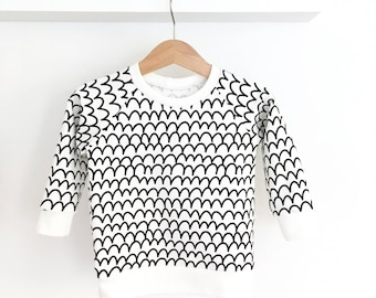 SCALES baby and toddler sweatshirt - monochrome baby clothes - modern baby clothes