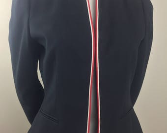 Vintage Sasson Black Jacket with High Collar and Red & White Piping/Size 10-11 Medium