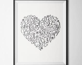 Heart Math Poster| Math Teacher Gift | Classroom Decor | Back to School | Digital Download | Math Decor Print | Math Lover Poster