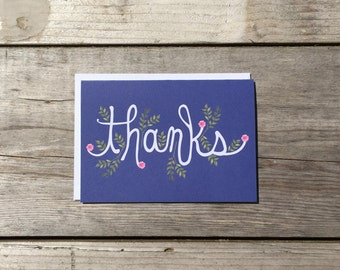 """Thank You Card Set   Hand Lettered & Illustrated """"Thanks"""" Card Set - Set of 8"""