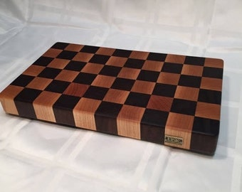 "Walnut and Maple ""Checkerboard"" End Grain Cutting Board"