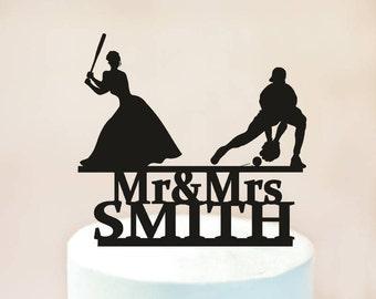 Baseball Wedding Cake Topper, Wedding Cake Topper,Mr and Mrs Baseball Cake Topper, Baseball Fan Couple, Baseball Theme Wedding (1114)
