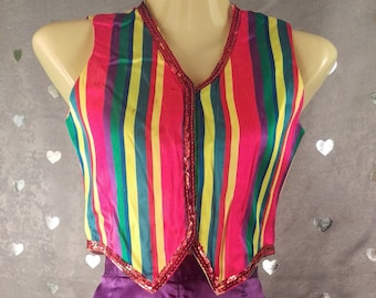 Striped Multi Colored Rainbow Vest with Sequin Trim for Festival/Rave Halloween Jester/Circus Costume Dance Performance Juggler Hooper Fairy