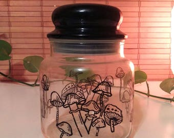 Mushroom Jar Vintage Cannister Glass with on all sides, Black Top - Apothecary Storage Jar Magic Fungus Hippie Psychedelic Retro Kitsch
