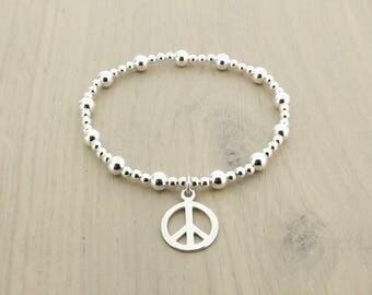 PEACE BRACELET - Peace Sign Bracelet -Peace Charm Bracelet - Hippie Bracelet - Sterling Silver Stretch Bracelet - Karma Bracelet - Peace