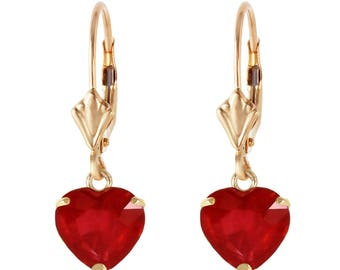 Red Ruby Earrings/ Genuine Ruby/Heart Earrings/ Leverback Earrings/ 14k Solid Gold/ White Gold/Rose Gold