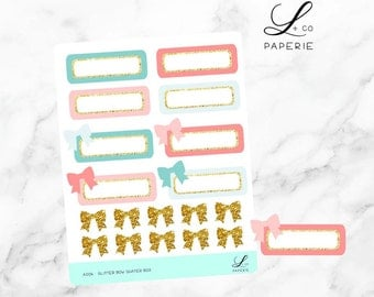 Glitter Bow Quater Box Planner Stickers