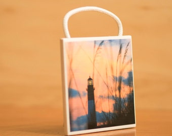 Ceramic Tile Wall Art, Tybee Island Lighthouse Sunset, hanging, Home Decor, 4x4, 3/16 rope, Tybee Island, Decor, living decorations,gift