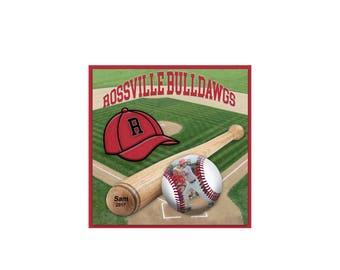 12x12 Digital Scrapbook Template, Baseball template