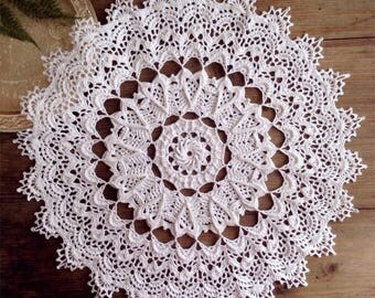 Hand crochet doily  Doily white Crochet round doily lace doily crochet tablecloth housewarming gift table topper