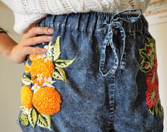 Hand Embroidered Denim Shorts - Oranges & Hollyhock - Size M
