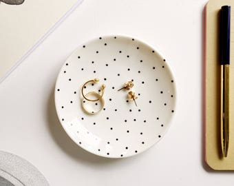 Black dotted ring dish, ring dish, jewelry dish, trinket dish, birthday gift, gifts for her