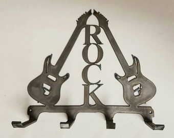 Dual Electric Guitars Rock * Metal Wall Hanger to hold your Backpacks, Hats, Hoodies, Coats, Belts, Rock Gear, Jackets, Purses, Scarves, etc