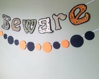 Beware banner with circular color splash banner. 2 piece Halloween decor set. Mantle decor banner