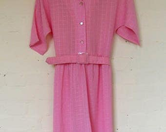 1980's pink summer dress with belt - size 12/14