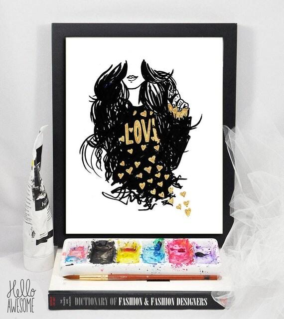 Heart of Gold Modest Fashion Illustration 5x7 Print