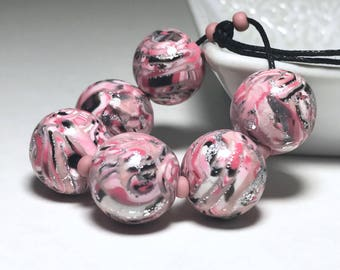Coral Pink Silver And Black Polymer Clay Beads, Handmade Round Beads, Glitter Sparkle Beads, For Jewelry Makers, Freckled, Handmade, Glossy