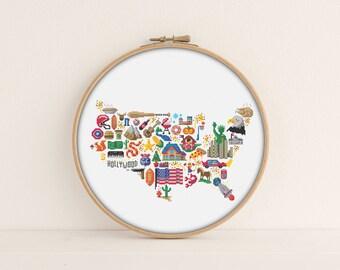America Cross stitch pattern / Printable PDF Pattern / America Embroidery Pattern / Patriotic cross stitch / Map Cross Stitch