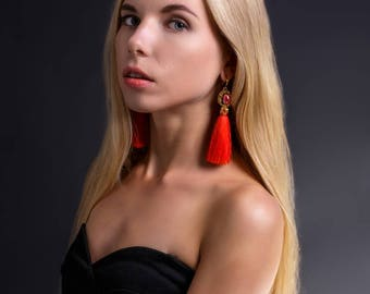 Red Tassel Earrings Dangle Earrings Embroidered Earrings Long Red Earrings Beaded Tassel Earrings Tassel Jewelry Earrings Statement Jewelry