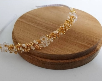 Pearlescent Blossom Hairband in Gold and Ivory