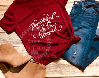 Thankful and blessed shirt, thanksgiving shirt, blessed, thankful, holiday shirt, thanksgiving tshirt, thankful shirt