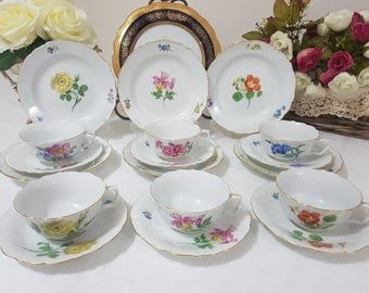 Meissen 6 Vintage Floral Trio Sets, First Quality, Made in Germany c1947-73