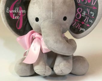 Baby Birth Elephant Announcement | Baby Girl | Baby Boy | Personalized Gift | Birth Announcement