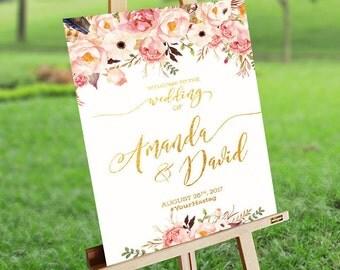Gold Wedding sign, Wedding Welcome Sign, wedding chalkboard sign, Rustic Wedding Decor, wedding decoration - US_WS0101