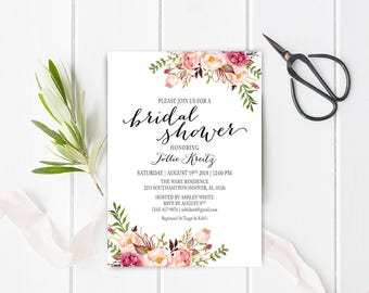 Floral Boho Bridal Shower Invitation. Printable Bridal Shower Invitation. Boho Digital Invitation - US_BI0705