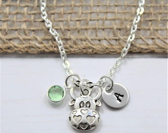 Cow Head Necklace - Cow Birthday Gift - Personalized Cow Gift - Cow Jewelry - Silver Cow Necklace - Cute Cow - Cow Themed Gift