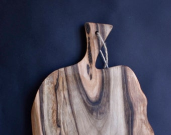 Solid walnut wood cutting board, rustic style